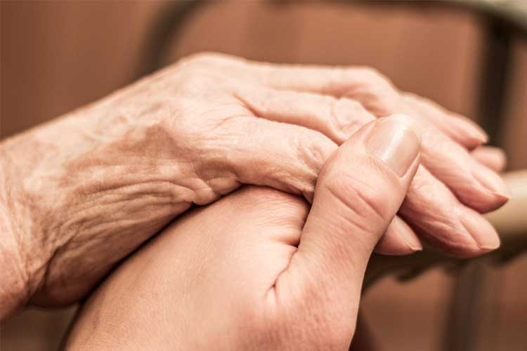 Young and elderly person holding hands | Image