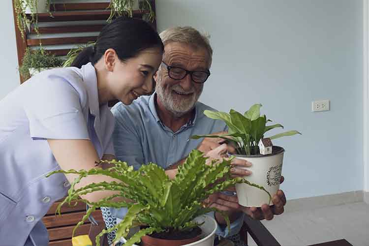 Elderly male and healthcare worker holding plants | Image