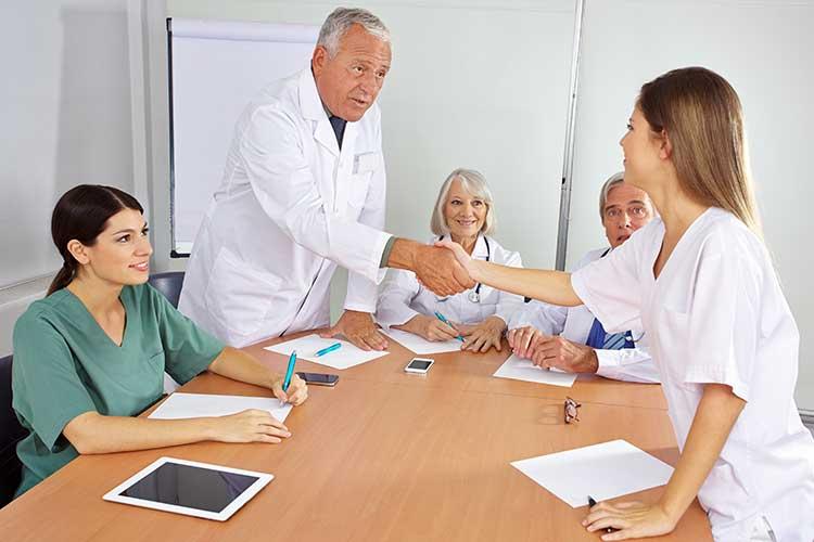 nursing candidate handshake