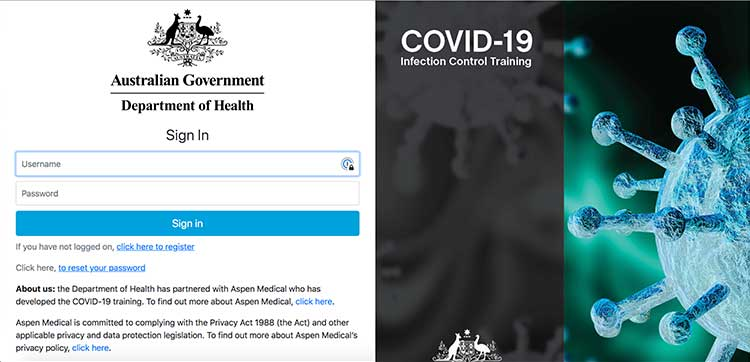 Australian Government Department of Health sign in page | Image