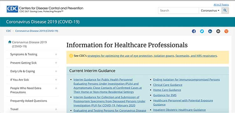 CDC - COVID-19 information for health professionals | Image