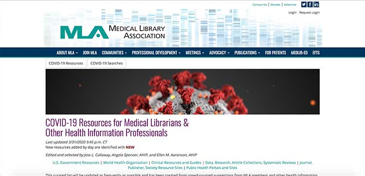 Medical Library Association - COVID-19 resources | Image