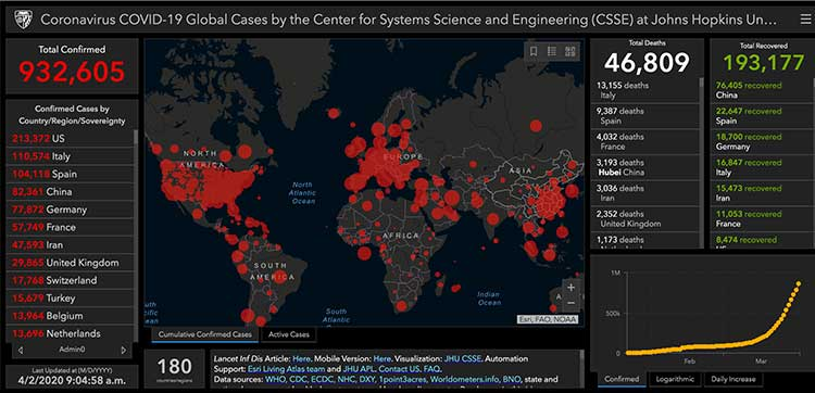 CSSE at John Hopkins University - Global COVID-19 cases | Image