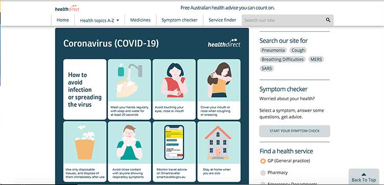 HealthDirect - stopping the spread of COVID-19 | Image