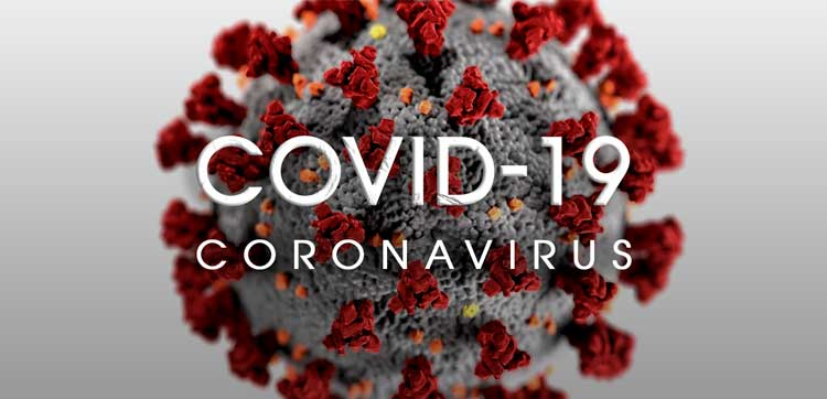 COVID-19 Coronavirus image with infectious cell in the background