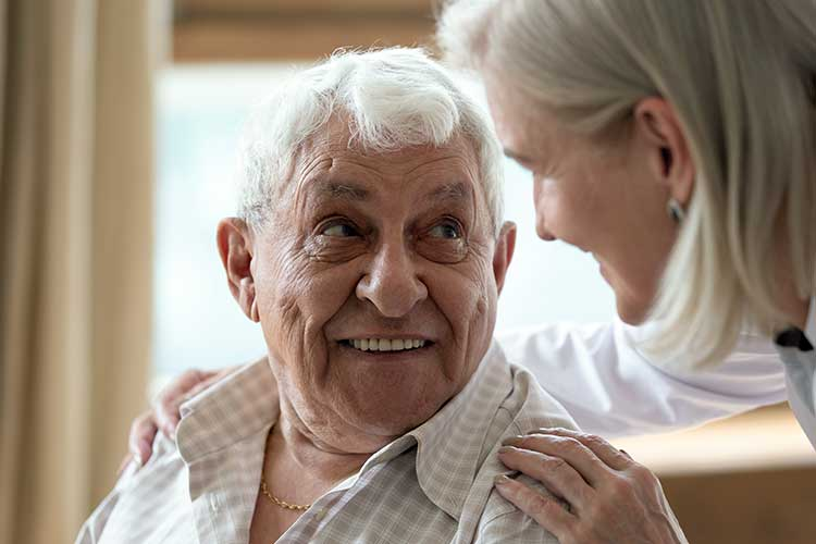 happy client talking to carer