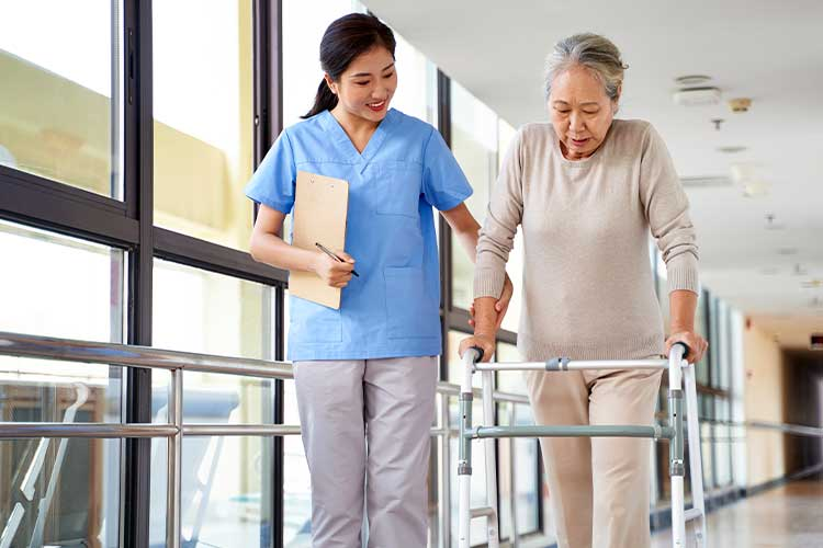 nurse assessing client's walking speed