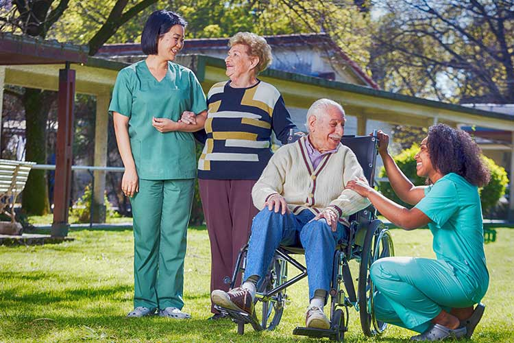 aged care staff with clients
