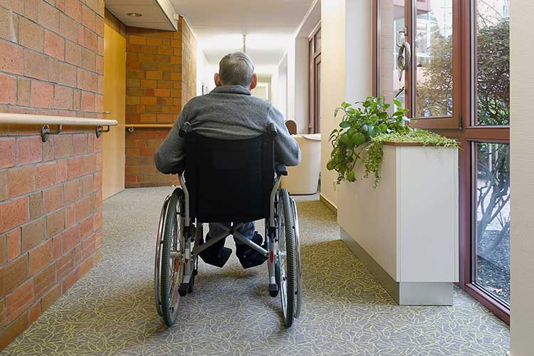 aged care client alone in facility