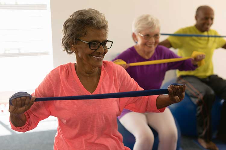happy older adults exercising