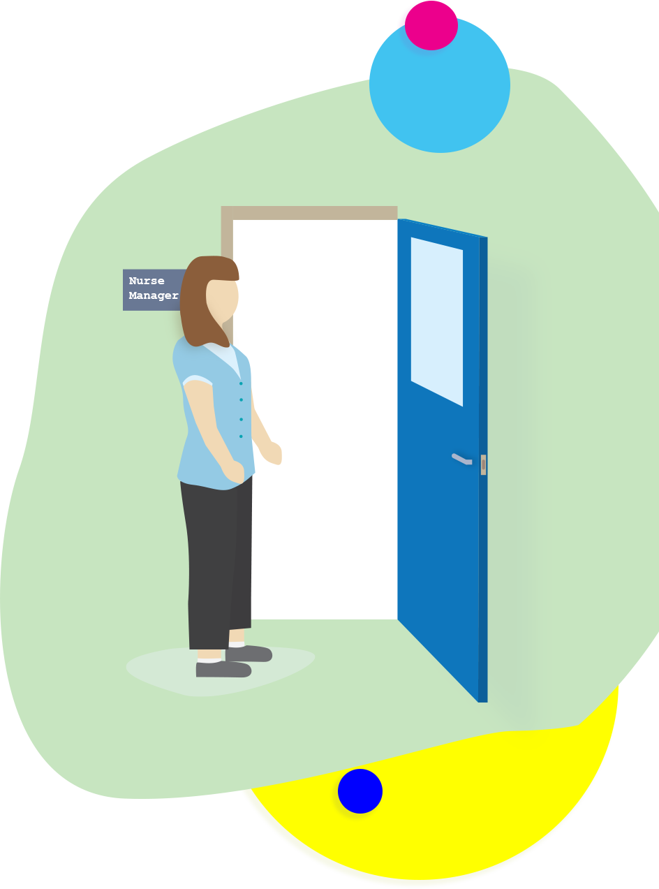 illustration of a nurse managers office