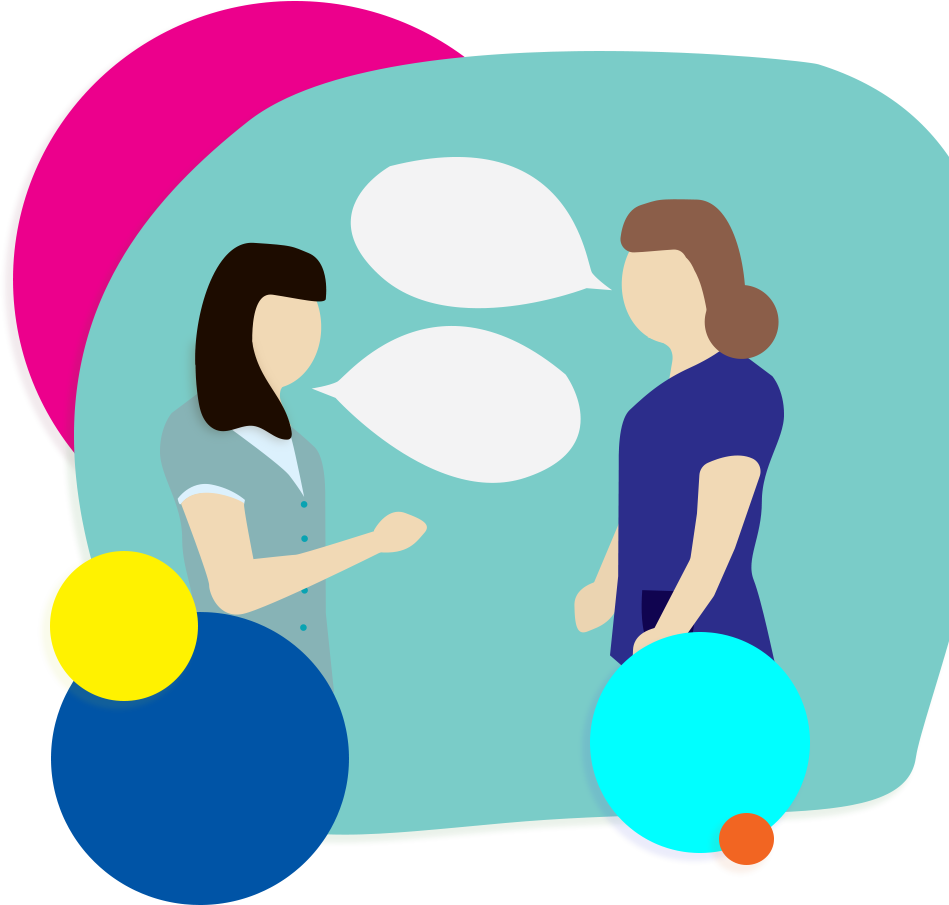 illustration of two nurses in conversation